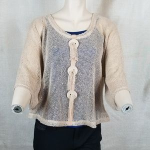 Noelle One Size Tan Sheer Loose Knit Top
